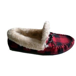 Clarks Buffalo Plaid Moccasin Faux Fur Slippers 9